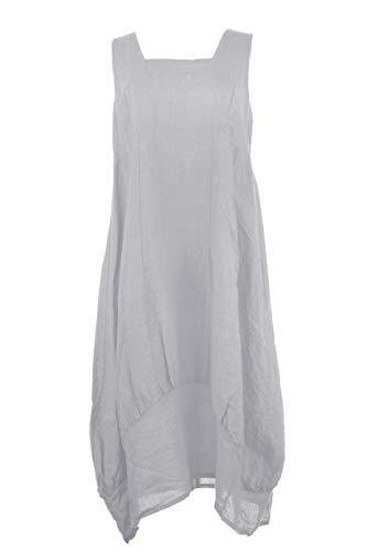 TEXTURE Ladies Womens Lagenlook Plain Sleeveless Square Neck Linen Long Midi Dress One Size (Light Grey, One Size) Womens Plus Square Neck