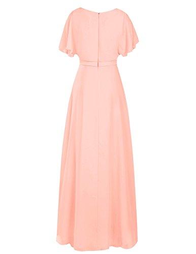 Dresstells Damen Bodenlang Chiffon Abendkleid Brautjungfer Kleider mit Ämel Ballkleid Purpur