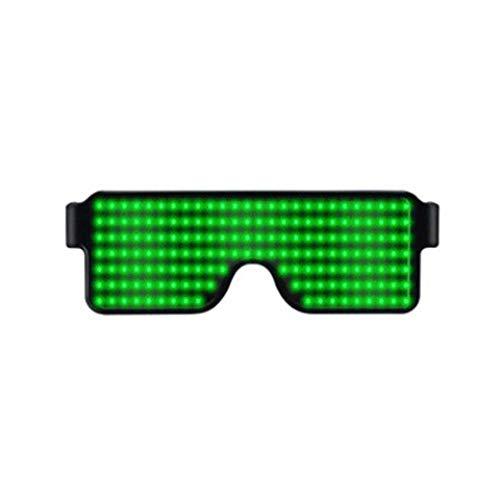 Modische LED-Brille – leuchtende Brille, blinkender Shutter-Neonleuchten, für Weihnachten, Halloween, Wilde Partys, Tanzball, verrückte Partys, Raves Free Size grün
