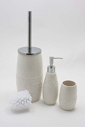 Flair Bad Accessoires Set 4 teilig Keramik Creme Romance   mit WC Bürste + Ersatzbürstenkopf, Seifenspender und Zahnputzbecher