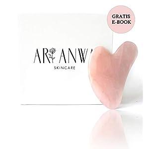 ARI ANWA Skincare Hochwertiger Gua Sha Massagestein Aus 100% Rose Quartz Für strahlende Haut Anti Aging Gesichtsmassage