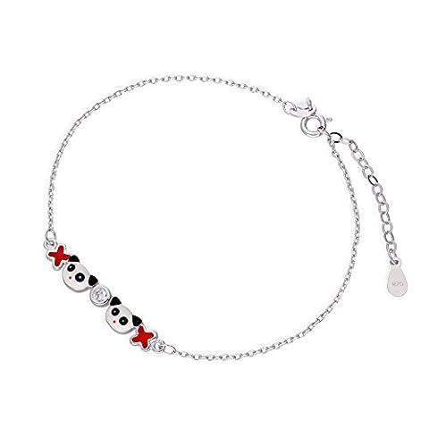 Bracelet Panda en Argent 925/1000 et Oxyde de Zirconium