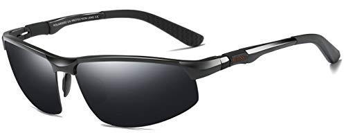 LZXC Herren Polarisierte Sonnenbrille Sportbrillen Fahren im Freien Frühling Scharnier Unzerbrechlich AL-MG Rahmen - Schwarz Rahmen Schwarz Linse (Polarisierte Nacht Brille Fahren)