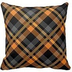 Negro Naranja de cuadros escoceses decorativo fundas de almohada cojín casos