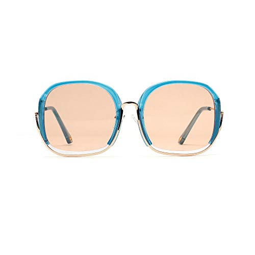 Drreny Big Half Frame Sonnenbrille Weibliche Farbe Mode Marine Lens Retro Personality Box Sonnenbrille Blauer Rahmen Orange Slices