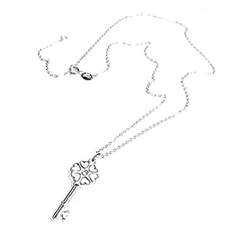 Queenberry Sterling Silver 'Key to My Heart' Cubic Zirconia Charm Pendant Necklace, 16