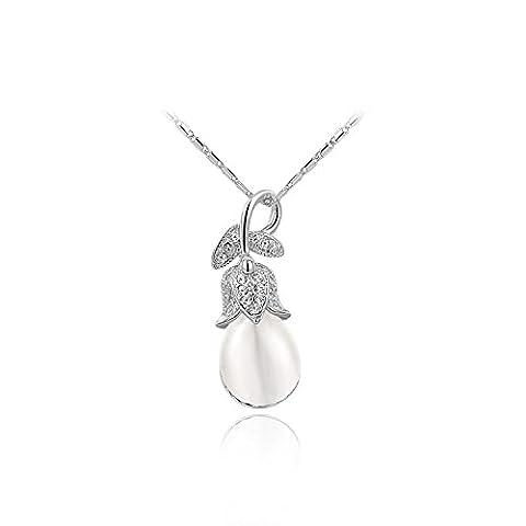 YANSHG® Schmuck Womens Orchid Anhänger Halskette drei Mal Gold Plating mit österreichischen Kristallen