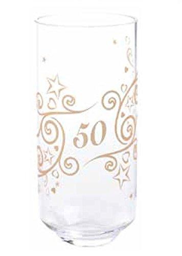 Dartington Crystal–Jarrón de celebrar gama–Oro 50th aniversario de boda