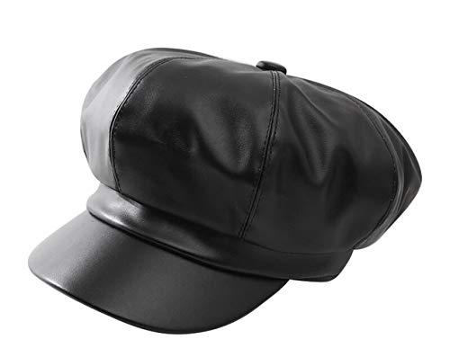 FENGFA Winter Damen Newsboy Cap Schirmmütze Mode PU Leder Barett Maler Mütze mit Visor (Schwarz) -
