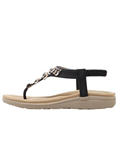 Vogstyle Donne Nuove Sandali Scarpe Stile Bohemian Pantofole A Tacco Piatto Stile-4 Nero
