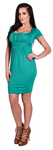Zeta Ville - Damen Jersey Empire-Taille Kleid Elegantes Etuikleid S-4XL - 081z Teal