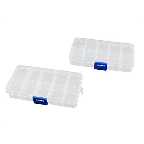 sourcingmap Boîte à pilules en Plastique Transparent 10 Sections Boucle de pression 2 Pièces