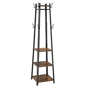 VASAGLE kapstok in industrieel ontwerp, kapstok, kapstok met 3 planken, haak, kledingstang, stevig, met metalen frame, houtlook, vintage LCR80X
