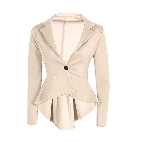 iHENGH Damen Herbst Winter Jacke Warm Bequem Mantel Lässig Mode Frauen Crop Frill Shift Slim Fit Schößchen Blazer(Beige,M)