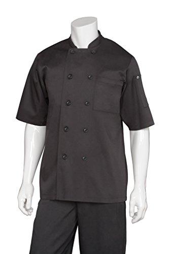 Chef Works Chambery Short Sleeve Basic Chef Coat, Schwarz, schwarz, BLSS-BLK-4XL (Chef Mäntel Von Chef Works)