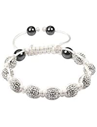 Shamballa Style Bracelets Crystal Disco Ball Friendship Beads 10mm By The Jewels [Blanc avec string blanche]