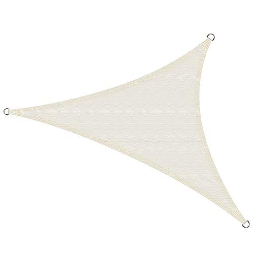Cool Area Toldo Vela de Sombra Impermeable triángulo 4 x 4 x 4 Metros protección UV, Color Crema