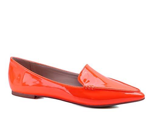 Greatonu Damen Geschlossene Ballerinas Loafers Flache Freizeit Schuhe Orange Größe 40 EU - Schuhe Ballerinas Orange Frauen