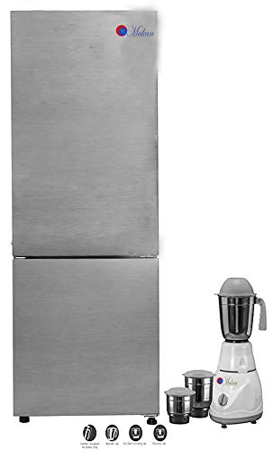 Makan Brushline silver, Dazzel Steel 256 L Frost Free Double Door Bottom Mount Fridge, Refrigerator Freezer with Use of Low Energy