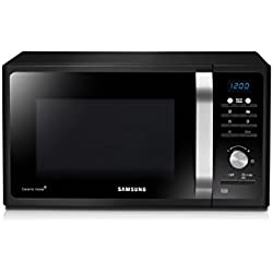 Samsung MG23F301TAK/EC - Microondas con grill, 23 litros, 1100 W, interior cerámico para mayor facilidad en la limpieza, color negro y gris