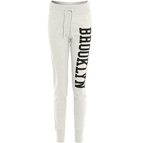 Janisramone Da Donna Nuovo lato Brooklyn Stampa Pantaloni Pantaloni Tuta Da Donna Jogging Pantaloni BROOKLYN JOGGERS CREAM S/M