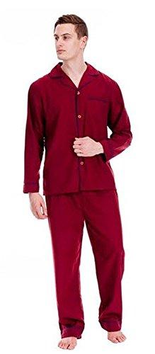 Herren Schlafanzug - Klassisches Design - Hemd & Hose Rot - Weinfarben