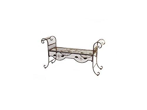 Ellas-Wohnwelt Wunderschöne geschwungene Gartenbank aus Eisen – antike Bank mit liebevollen Details
