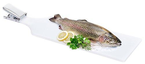 noorsk Fisch Filetierbrett, extra groß aus Spezialkunststoff mit starker Klemme