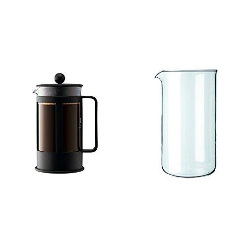 Bodum - 1788-01 - Kenya Cafetière à Piston 8 Tasses - 1,0 L - Noire + Verre de rechange