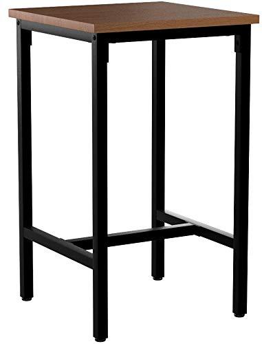 WOLTU BT12hei 1x Bartisch Bistrotisch Stehtisch Esstisch, Metallgestell, Tischplatte aus Massivholz, Eiche, 66x66x110cm(BxTxH)