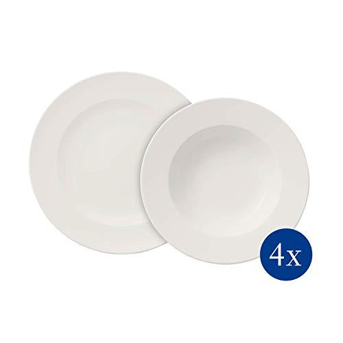 Villeroy & Boch For Me Dinner-Set für 4 Personen, 8-teilig, Premium Porzellan, Weiß