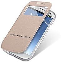Étuis magnifiques, couvertures, Luxe cuir PU + TPU Smart View de réponse fenêtre bascule boîtier de corps complet coulissant pour Samsung Galaxy J5 J7 avec béquille ( Couleur : Doré , Modèles Compatibles : Galaxy J7 )