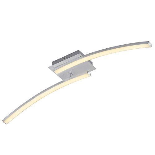 Briloner Leuchten - LED Deckenleuchte, geschwungene Deckenlampe, 2-flammig, 2 x 6W, warm weißes Licht, 55.4 cm, aluminiumfarbig