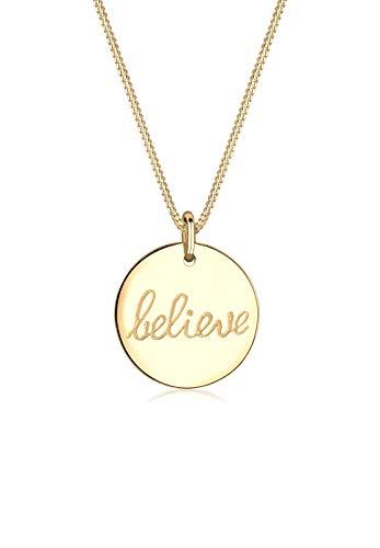 Elli Damen Schmuck Echtschmuck Halskette Kette Anhänger Wordings Believe-Schriftzug Basic Sterling Silber 925 Vergoldet Länge 45 cm