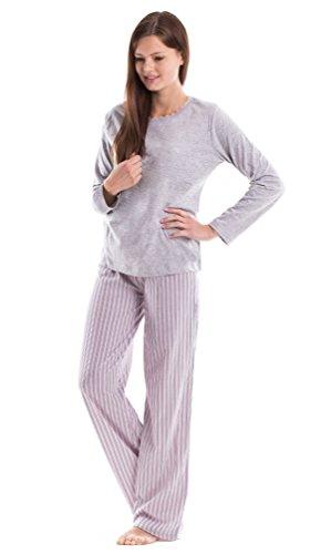 Moonline nightwear - Ensemble de pyjama - À Rayures - Manches Longues - Femme Gris