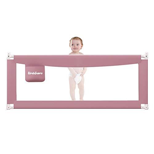 Zx- barriera letto pieghevole, recinzione del letto infrangibile, ringhiera protettiva, deflettore anti-goccia, guardrail/recinzione, neonati, bambini, letto grande (colore : pink-200cm)