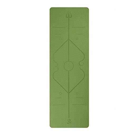 PDDXBB Die Neue Tragbare Yoga Matte TPE Komfortable rutschfeste Trainingsunterlage 6Mm Dickes Design Körper Linie Übung Und Fitness Matte Grün 183 * 61 * 0,6 cm (Palme-touch-lampe)