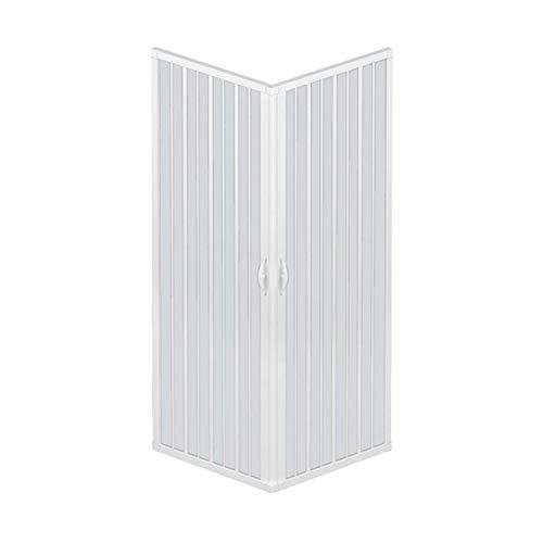 Mampara de ducha de dos puertas con cierre de ángulo de 90º Producto de PVC no tóxico autoextinguible. Se puede reducir en tamaño mediante el corte del carril. Color blanco.