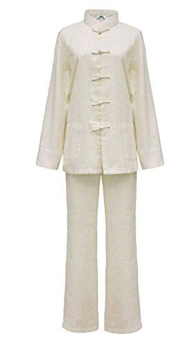 Tai chi abbigliamento beige cotone e lino per la donna, uniforme qi gong e kung fu, abiti da arti marziali taglia xxl