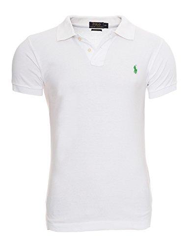 Polo-pony-shirt (Ralph Lauren Polo Herren Poloshirt Small Pony Custom Fit S-M-L-XL-XXL Outletware, Farbe:Weiß, Größe:XXL)