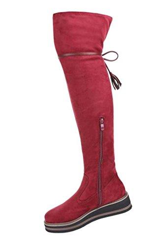 Damen Overknee Stiefel Schuhe Mit Keil Blau Grau Rot 36 37 38 39 40 41 Rot