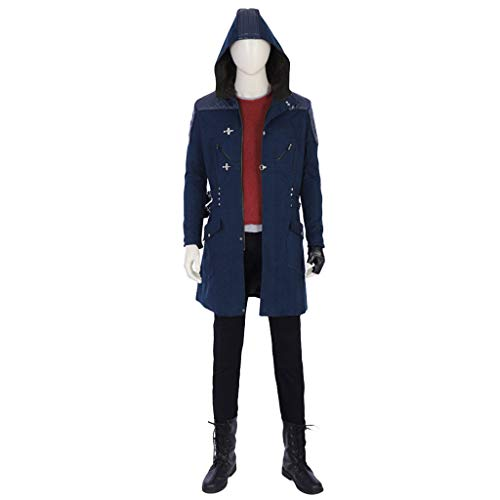 Devil May 4 Cry Kostüm - nihiug Anime Spiel Devil May Cry 5 Cos Kleidung Nero Kleidung Hooded Windbreaker Coat Cosplay Kostüm anpassbare Halloween,Blue-M(168to172)