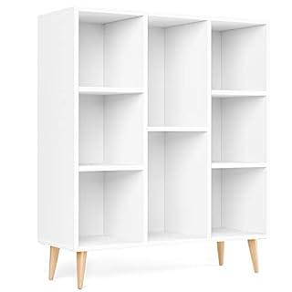 Homfa Meubles de Rangement Blanc Meubles Scandinave en Bois Bibliotheque Etagere Rangement avec 8 Casiers Armoire Rangement pour Salon, Bureau, Chambre 80*29.5*93CM