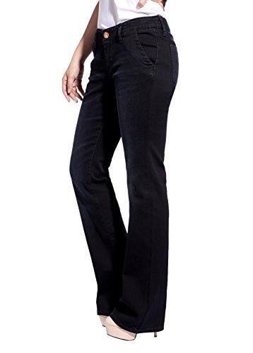 Christian Audigier Womens Causal Bootcut Jeans Cotton Slim Fit Bootleg Pants Black Size 28 (Jeans Bootleg-cut)