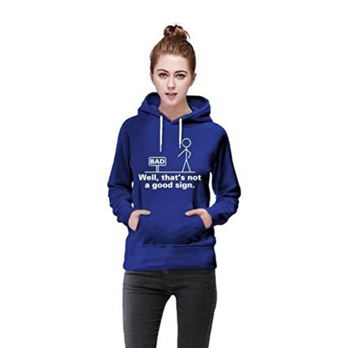 D-X Stilvoller und Einfacher, Neunfarbiger, Bequemer Damen-Pullover mit Kapuze, Blau, L -