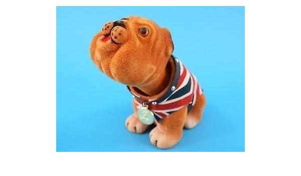 British Nodding Dog Bulldog UK Union Jack Waist Coat Souvenir Car Dashboard Bull
