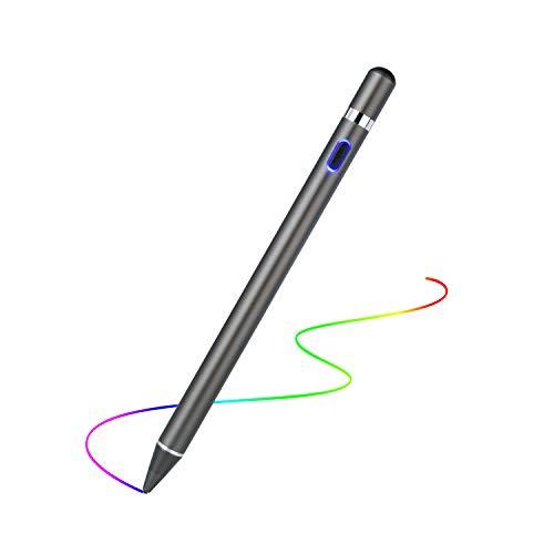 USCVIS Active Stylus Pen, Wiederaufladbarer Eingabestift mit 1,5 mm Extrem Feiner Spitze, Stylus Stift für iPad/iPhone/Samsung/Huawei/XiaoMi/Lenovo Android Smartphones, Tablets, Notebooks - Gun Farbe