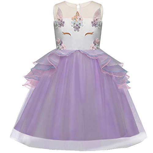 Mädchen Einhorn Blume Kleid Cosplay Hochzeit Geburtstagsfeier Party Kostüm Prinzessin Kleider für kinder/130 (Party-stadt Bei Halloween Kostüme Für Kinder)