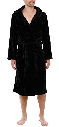 Superweicher Fleece Morgenmantel mit Kapuze - Schwarz - Herren (Größe M) (Fleece Herren-robe)
