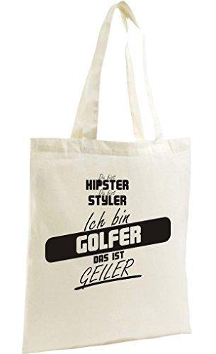 shirtstown SHOPPING-BAG organico Zen, SHOPPER Du Bist Hypster Du Bist Styler SONO golfista Das Ist Geiler Naturale